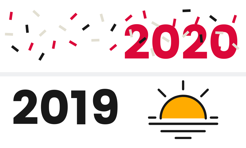 Graphic showing end of 2019 and start of 2020 with sunset and confetti