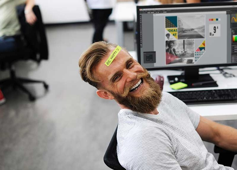 Guy happy at work