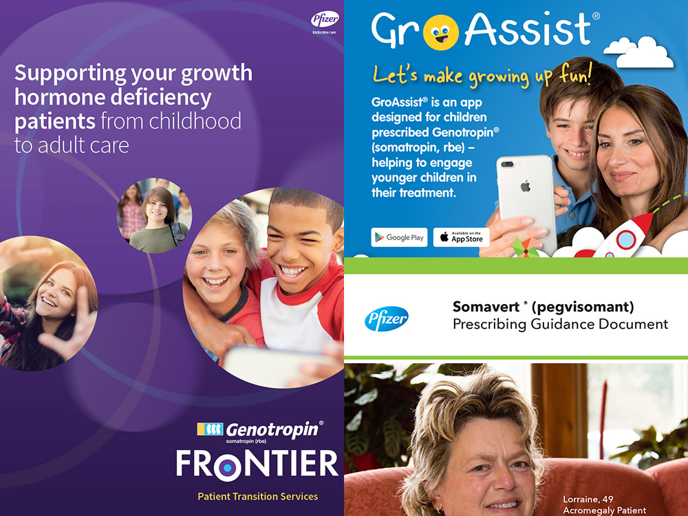 Grid of print work for the Pfizer