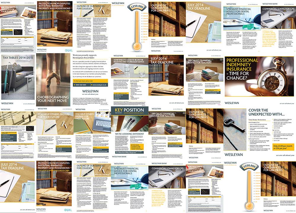 Grid of print work for Wesleyan