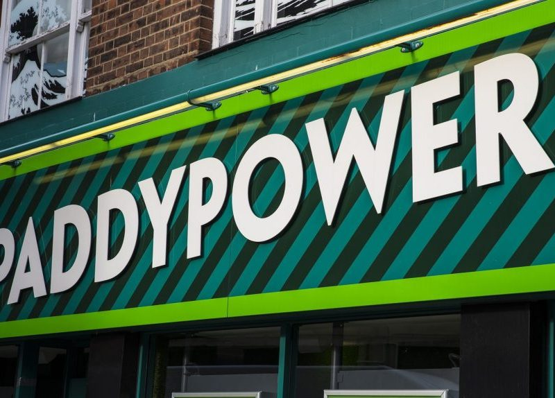 The shopfront of a Paddy Power betting shop in Norwich city centre