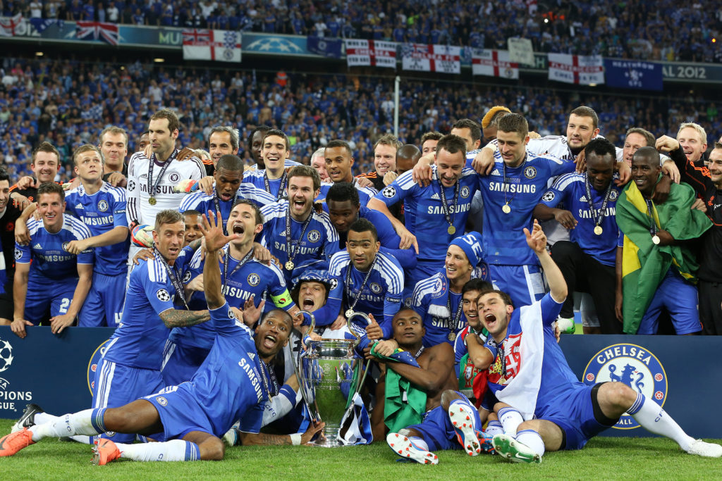 MUNICH, GERMANY May 19 2012. Chelsea players with the trophy after winning the 2012 UEFA Champions League Final at the Allianz Arena contested by Chelsea and Bayern Munich