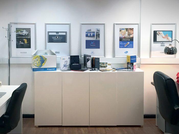 Photo of studio wall display